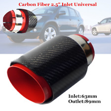 "2.5"" 63mm Inlet Car Exhaust Tip Muffler Pipe Red Steel Black Carbon Fiber Style"