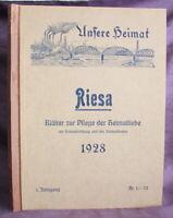 Unsere Heimat Riesa Bätter zur Pflege der Heimatliebe 1928 1. Jahrg.  Nr.1-53 js