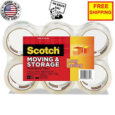 3M Scotch Moving Storage Packing Tape - 6 Rolls Heavy Duty Shipping Packaging