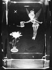 3D TINKERBELL WATERING FLOWER 3 Inch GLASS PAPERWEIGHT Laser Etched Crystal