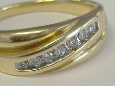 14 K SOLID GOLD  MEN'S   DIAMOND 0.15CT RING SIZE 14,5