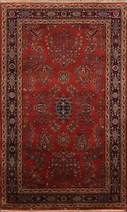 RED Floral Vegetable Dye Sarouk Oriental Area Rug Hand-knotted Wool 3'x5' Carpet