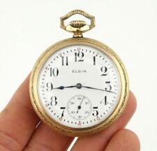 Antique Elgin 10K Gold Filled Pocket Watch Open Face Keystone Case USA Vtg