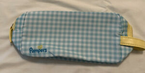 Pampers Zipper Travel Pouch, Blue White Checkers Holds Diapers Wipes Etc.