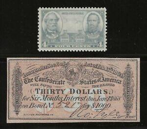 AUTHENTIC CIVIL WAR 1864 $30 CONFEDERATE $1000 BOND COUPON / RECEIPT + BONUS
