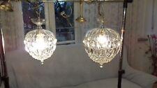 Coppia Lampadari sfera cristallo anni60/Pair of crystal sphere chandeliers