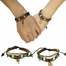 Couples Bracelet Leather Heart Lock and Key Christmas Gift Free Shipping 367-CP