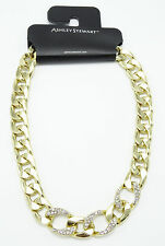 New Gold Tone Large Curb Chain Necklace with Rhinestones nwt #N2595