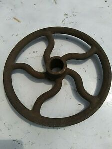 "Vintage 11"" Cast Iron Pulley Wheel Antique Old Farm Wheel Well Barn Steampunk"