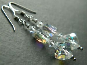 Vintage Aurora Borealis Rainbow AB Glass Crystals & 925 Sterling Silver Earrings