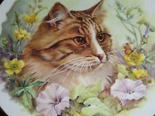 Un Named Collectors Plate Cat With Flowers #2