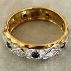 ** NEW ** 9ct Gold Diamond Sapphire Full Eternity Ring