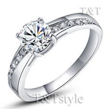 TTstyle 0.9 Ct Stone 18K White Gold Plated Engagement Wedding Ring