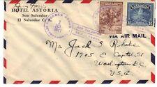 "SALVADOR 1941 ""CORREOS AEREO INTERNATIONAL 1.JUL.1941"" CDs AIRMAIL HOTEL ASTORIA"