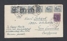 GERMANY 1948 POST HORN OVERPRINTS ON COVER ULM DONAU TO SAN FRANCISCO USA