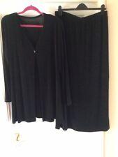 Black Slinky Velvet Look Long Skirt & Matching Cardigan Size XL By WEEKENDERS