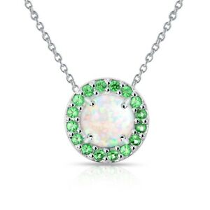 Round Halo Simulated White Opal & Emerald Necklace in Sterling Silver