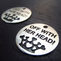 Off With Her Head Alice In Wonderland Queen Of Hearts Charm C0612 - 5, 10, 20PCs