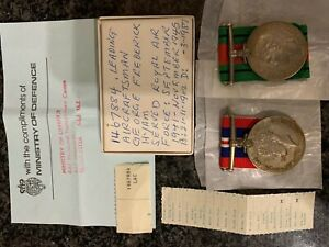 2WW War & Defence Medals RAF with issue tape and details