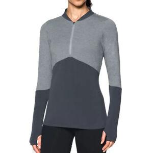 Under Armour Threadborne ColdGear 1/2 Zip Top UA Ladies Grey Golf Pullover