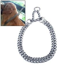 New Dog Collar Pet Walking Training Metal Chain Double Choke Choker Necklace S-L
