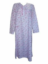 Womens Floral Nightdress Pjs Night Wear Shirt Nighty Cotton Full Sleeves 8-16