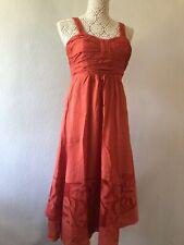 Stunning KALIKO burnt Orange strappy Swing / Day Dress Size 8 VGC