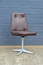 Vintage chair Mid century brown vinyl swivel  chair