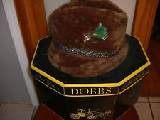 Dobbs Fifth Avenue New York Brown Fedora Med. Vintage Hat W/ Feather, Pin  Box