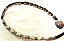 "Vintage Native American Sterling Silver & Leather 20 Conchos Belt 48"" Long"