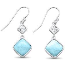 Natural Princess Cut Larimar & Cz Drop Dangle .925 Sterling Silver Earrings