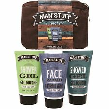 Man Stuff Toiletry Bag Gift Set Mens Grooming Bath and Body Shower Gel Face Wash
