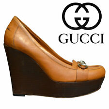 Gucci russet brown leather platform wedge Size 7.5 B