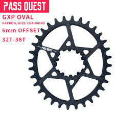PASS QUEST GXP MTB Oval Crankset Chainring Bicycle Chainwheel 6mm Offset 32-38T