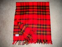 "Vintage Faribo Faribault Plaid Blanket Throw Red Stadium 50"" x 54"" with Fringe"