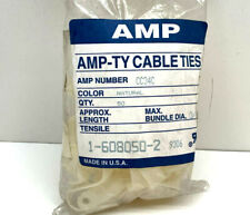 """New listing (50-Pack) Amp-Ty Cc34C 1-608050-2 Natural Cable Ties Clamps 3/4"""" Bundle Diameter"""