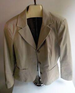 LL BEAN Beige 3 Button Blazer Fully Lined Cotton Spandex SZ 12 Petite