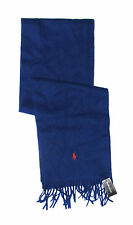 Polo Ralph Lauren Mens Blue Orange Navy Cashmere Knit Pony Logo Scarf New