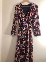 Zara Ladies Floral Wrap Dress Medium Vintage Style Celebs Fave Sold Out