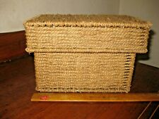 Vintage Arts Crafts Heavy Tightly Woven & Wired Wicker Antique Box 8.5 x 6.5