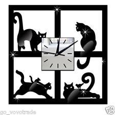 3D Cat Mirror Silent Wall Clock Modern Design Home Decor Watch Wall Sticker
