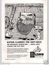 1948 PAPER AD Baldwin Michanical Toy Chicken Lays Eggs Walks Pecks 4 Action