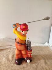 Vintage  Hand Painted Ceramic Golf Golfer Kitchen Utensil Holder Caddie Japan