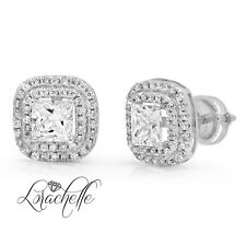 3.0ct Princess Cut Halo Stud Solitaire Earrings Solid 14k White Gold Screw Back