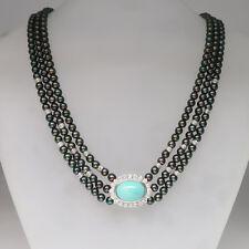 Perlencollier mit Brillant, Türkis und Zuchtperlen in 585/14K Weißgold