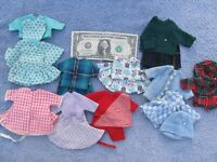 NICE Lg Lot of Vintage 1960 Handmade Doll Clothes & Outfits, Less Than BARBIE