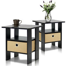 Set of 2 Bedside End Table Night Stand French Espresso Wood Bedroom Furniture