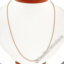 """Solid 14k Rose Gold Long 24"""" 1.4mm Cable Link Chain Necklace w/ Lobster Clasp"""