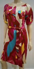 DIANE VON FURSTENBERG DVF Multi Colour Silk Short Sleeve Belted Dress 12 UK16