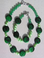 Shell & Jade Necklace and Bracelet Set, Mother of Pearl, Green Jade and Pearl